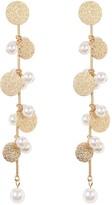 Natasha Accessories Long Disc & Faux Pearl Strand Drop Earrings