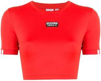 adidas logo stripe cropped T-shirt