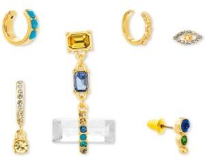 Steve Madden Gold-Tone 6-Pc. Set Crystal Mismatch Earrings