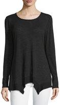 Bobeau Long-Sleeve Knit Double-Hem Top, Black