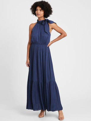 Banana Republic Satin Tie-Neck Maxi Dress