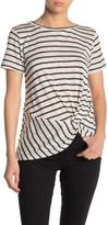 Bobeau Short Sleeve Slub Knit Twist Front T-Shirt