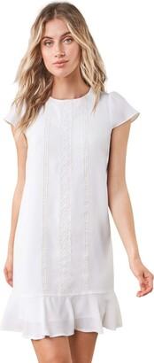 Sugar Lips Sugarlips Women's Santee White Lace Inset Shift Dress Medium