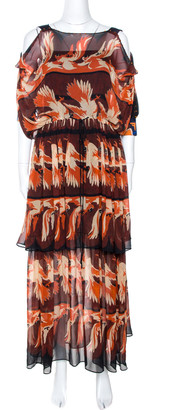 Fendi Maroon Parakeet Print Silk Embellished Tiered Dress M