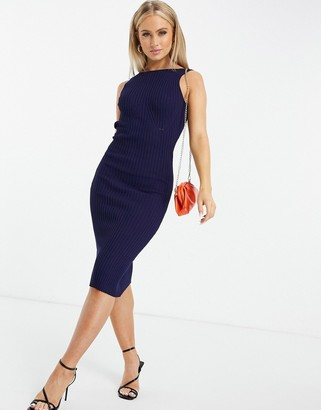 4th + Reckless chain back detail sweater dress with bust detail in navy