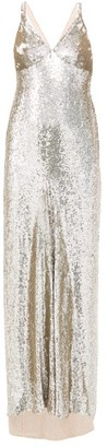 Temperley London Tamir Crossover-back Sequinned Gown - Silver