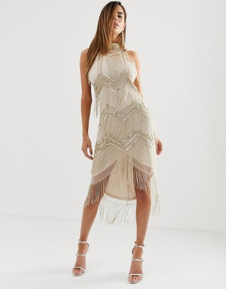 ASOS DESIGN midi embellished halter neck bodycon dress with chevron embellishment and fringe hem