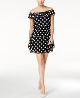 Betsey Johnson Polka Dot Off-The-Shoulder A-Line Dress