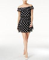 Betsey Johnson Polka Dot Off-The-Shoulder A-Line Dress