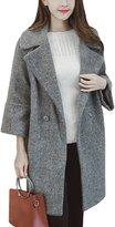 Fanvans Women's Long Lapel Cocoon type Wool-outerwear-coats L
