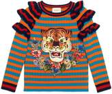 Gucci Children's striped wool ruffle sweater with embroidery