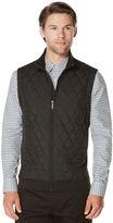 Perry Ellis Quilted Front Full Zip Vest