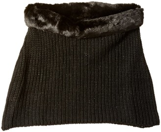 La Fiorentina Women's Chunky Over The Shoulder Neck Warmer with Faux Fur Trim