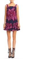 Nicole Miller Flocked Flowers Ruffle Dress