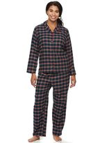 Croft & Barrow Plus Size Pajamas: Flannel Notch Collar PJ Set