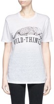 Zoe Karssen 'Wild Things' slogan and leopard print linen T-shirt