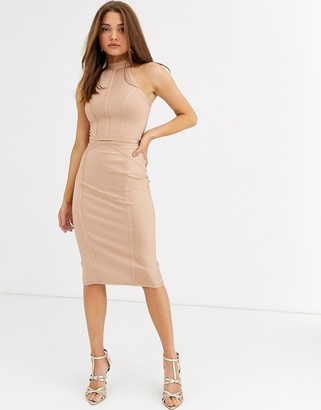 Lipsy bandage midi skirt two-piece in camel