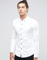 Asos Skinny Shirt in White Twill with Long Sleeves