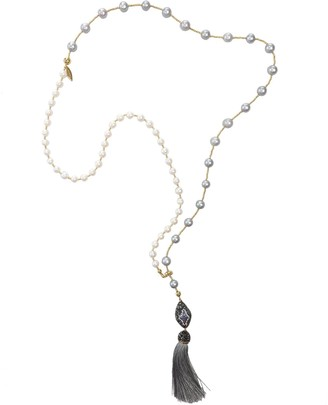 Farra White & Light Grey Freshwater Pearls With Tassel Multi-Way Necklace