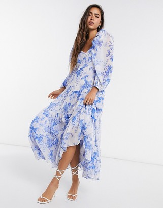 ASOS EDITION tiered midi dress with puff sleeve in blue floral print