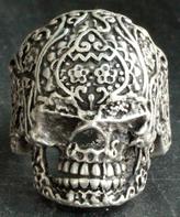 Nautilus Silvertone Floral Skull Adjustable Ring