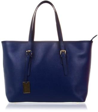 FIRENZE ARTEGIANI. Women Genuine Leather Handbag. Tote Soft Leather Bag.Made in Italy. Genuine Italian LEATHER38x29x17 cm. Color: Blue