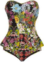 Flourishing floral-print bandeau swimsuit