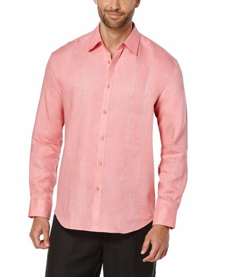 Cubavera 100% Linen Long Sleeve Panel with Embroidery Shirt