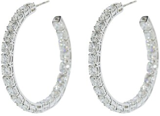 Bayco 18kt White Gold Medium Round Diamond Hoop Earrings
