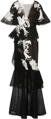 Marchesa Embroidered V-Neck Fit And Flare Gown With Ruffles