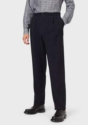 Giorgio Armani Jogger Trousers In Virgin Wool With Pinstripe Motif