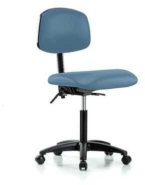 Perch Chairs & Stools Task Chair Upholstery Color: Colonial Blue Vinyl, Arms: Not Included