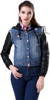Womens Denim Jacket in Jean With Black Faux Leather Hood and Sleeves - Ez Studio