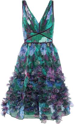 Marchesa Appliqued Pleated Floral-print Organza Dress