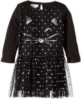 Mud Pie Halloween Cat Mesh Overlay Dress (Infant/Toddler)