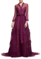 Carolina Herrera Long-Sleeve Silk Organza Trench Gown, Iris