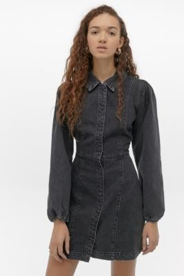 Free People Mia Black Denim Mini Dress - black XS at Urban Outfitters