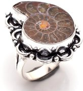Lavie International Inc 925 Sterling Silver Overlay Rings, Ammonite Gemstone Handmade Jewelry Pr682