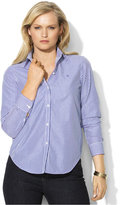 Lauren Ralph Lauren Plus Size Three-Quarter-Sleeve Button-Front Shirt