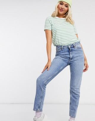 Monki Kimomo organic cotton high waist slim mom jeans in vintage blue