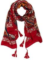 Barneys New York WOMEN'S FOLKLORIC-PRINT GAUZE SCARF