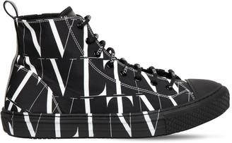 Valentino Vltn Times Print Canvas High Top Sneaker