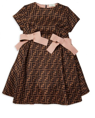 Fendi Little Girl's & Girl's Neoprene All Over Logo Dress