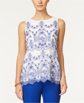 Charter Club Petite Embroidered Mesh Top, Only at Macy's