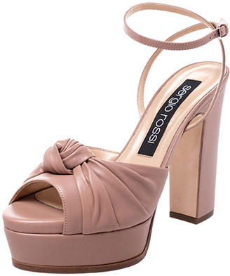 Sergio Rossi Beige Leather Kaia Knot Detail Platform Sandals Size 38