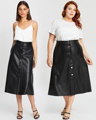 Atmos & Here PU Button Through Midi Skirt