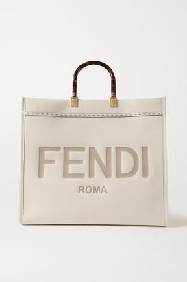 Fendi Sunshine Shopper Logo-embossed Leather Tote - Cream