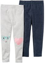 Carter's Toddler Girl 2-pk. Striped & Faux-Denim Leggings