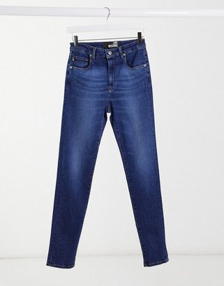 Love Moschino skinny jeans with box logo in blue