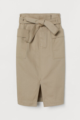 H&M Paper-bag Skirt - Beige